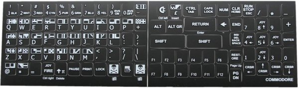 C64 keyboard stickers (black)