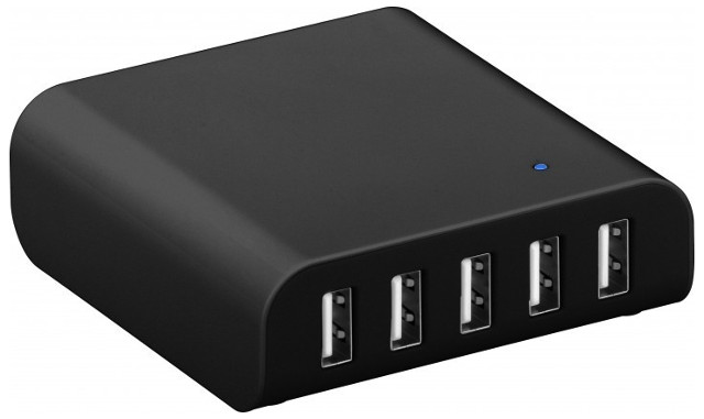 Intelligenter USB-Multiportlader, schwarz