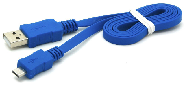 Flat USB 2.0 Hi-Speed Kabel blau