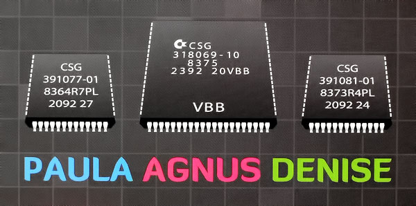 The set of chips that give the Amiga its unique features: Paula (sound), Agnus (memory control), Denise (graphics)