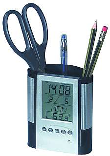 Pencil Holder with Digital Clock