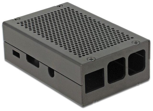 Aluminium Enclosure for RPi Model B+ and RPi2 (black)